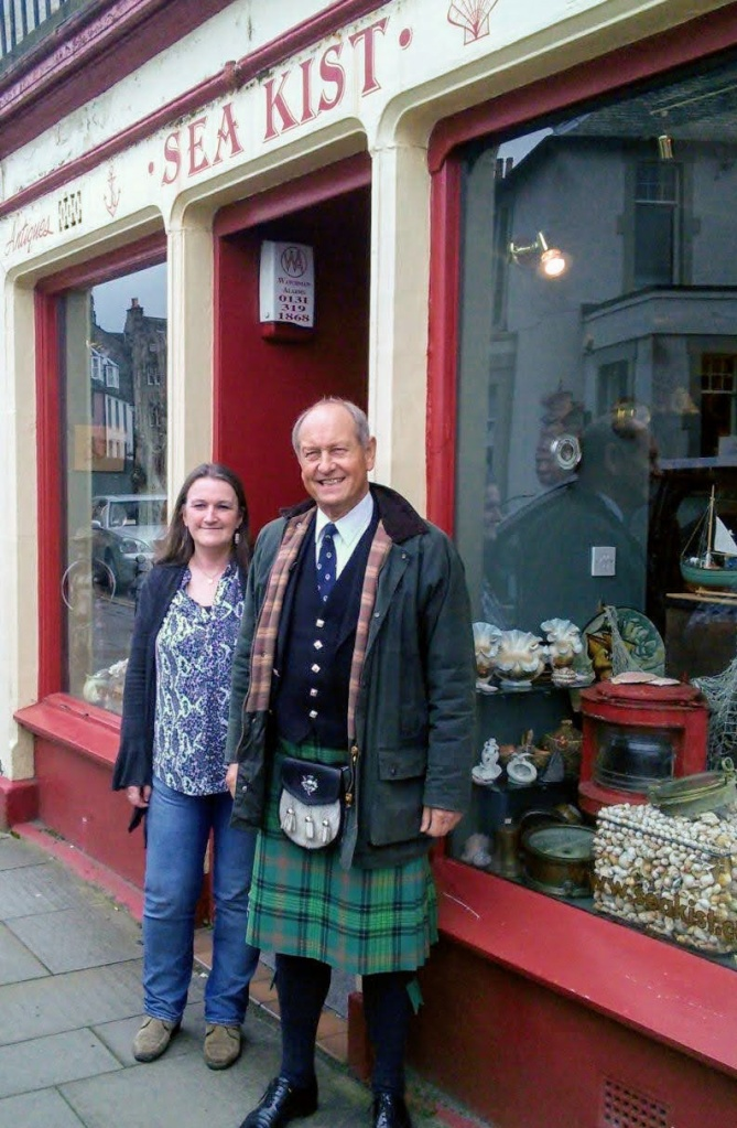 Jenni Meldrum from Sea Kist with antiques expert Charlie Ross outside her shop in South Queensferry.